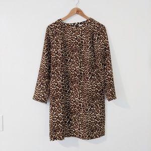 NWT J. Crew Leopard Print Long Sleeve Shift Dress